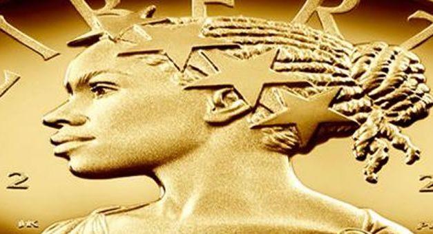 """""""Señora Libertad"""" mujer de raza negra en las monedas de EEUU"""